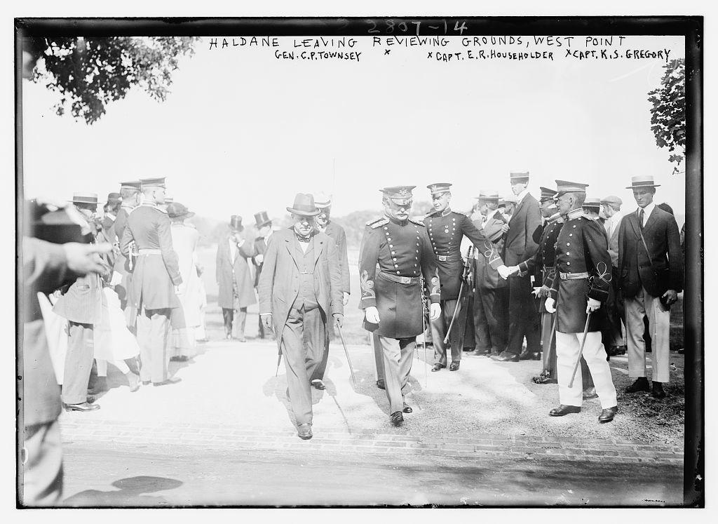 Haldane leaving reviewing grounds, West Point - Gen. C.P. Townsey, Capt. E.R. Householder, Capt. K.S Gregory