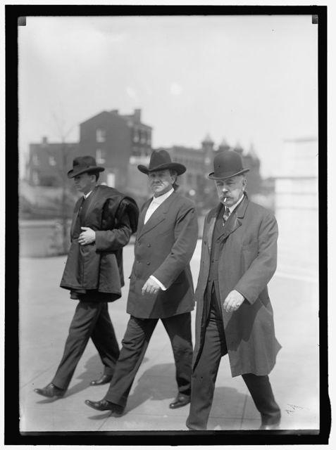 HARRISON, FRANCIS BURTON, REP. FROM NEW YORK, 1903-1905, 1907-1913. GOVERNOR GENERAL, P.I., 1913-1921; ELDER, JAMES WALTER, FLOYD, REP. FROM LOUISIANA, 1913-1915, LEFT; JOHN CHARLES, REP. FROM ARKANSAS, 1905-1915, RIGHT; VARDEMAN