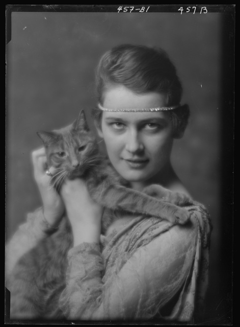 Holch, Anna, Miss, with Buzzer the cat, portrait photograph