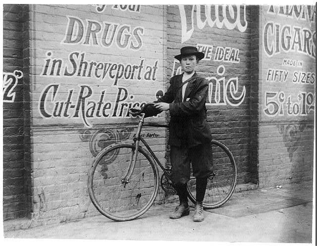 Howard Williams, thirteen year old delivery boy for Shreveport, La. Drug Company. He works from 9:30 A.M. to 10:30 P.M.; has been here three months. Goes to the Red Light every day and night. Says that the company could not keep other messenger boys; they work them so hard. See Hine report on Messengers.  Location: Shreveport, Louisiana.