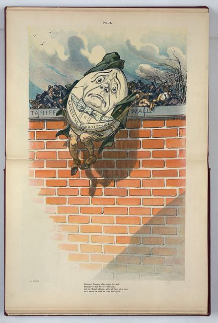 Humpty Dumpty slips from the wall; Humpty's due for an awful fall / K.