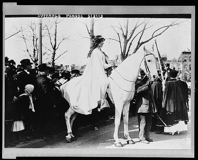 [Inez Milholland Boissevain, wearing white cape, seated on white horse at the National American Woman Suffrage Association parade, March 3, 1913, Washington, D.C.]