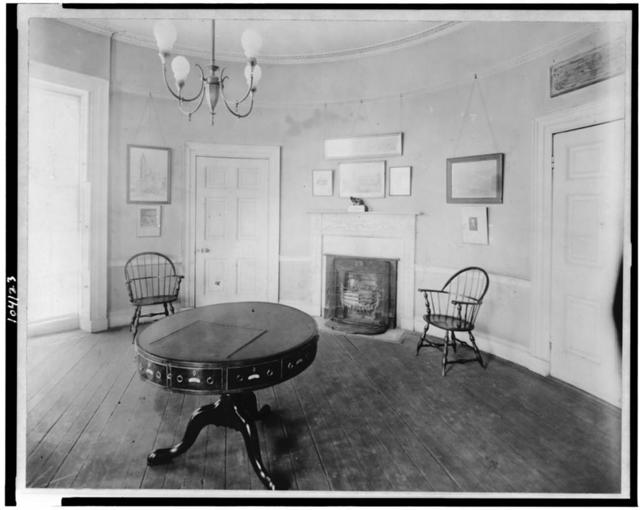 [Interior of Octagon House, Washington, D.C. with oval table upon which the Treaty of Ghent was signed in center of room]