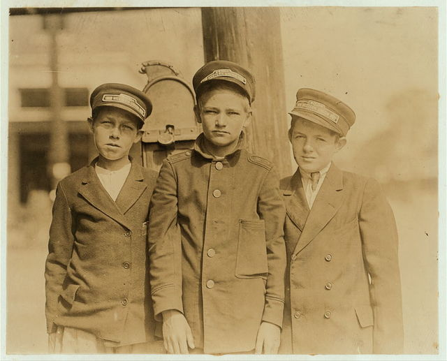 Jacksonville, Florida, Messenger boys. (See Report of E.F. Brown and Lewis W. Hine.)  Location: Jacksonville, Florida.