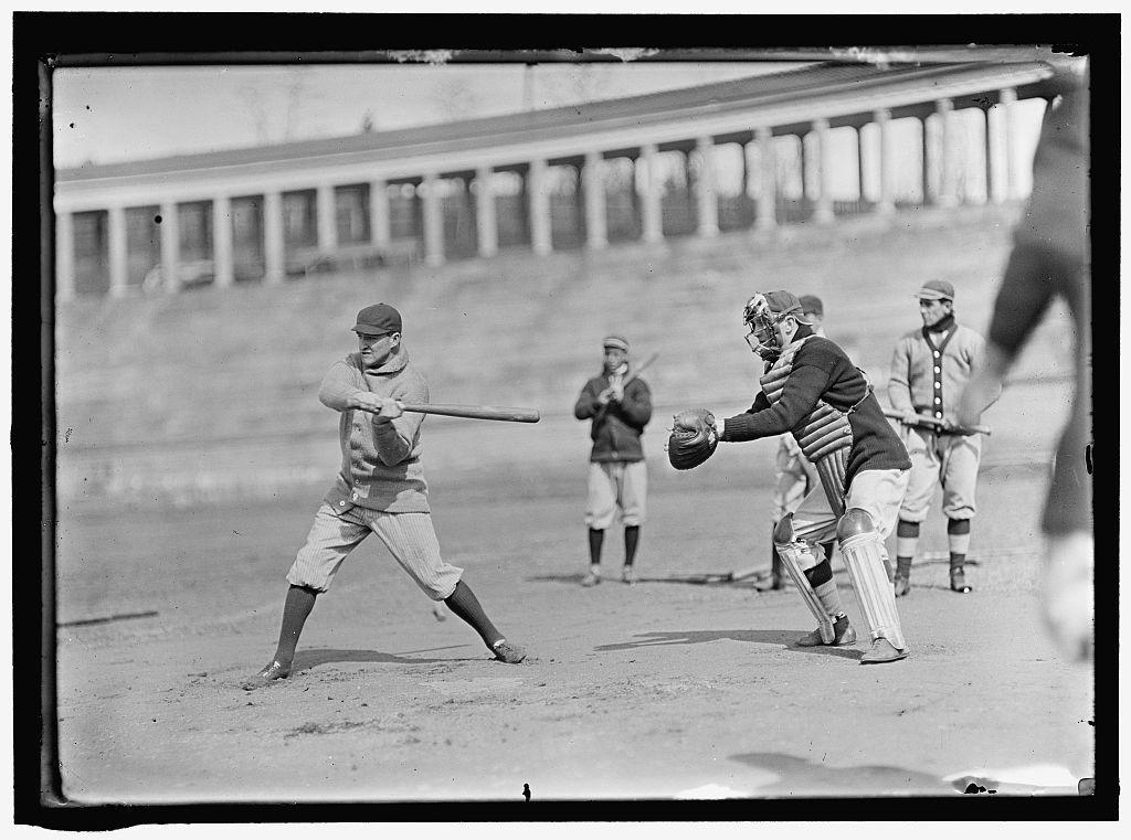 [Joe Connolly at bat, Jack Calvo at right, Washington AL, at University of Virginia, Charlottesville (baseball)]