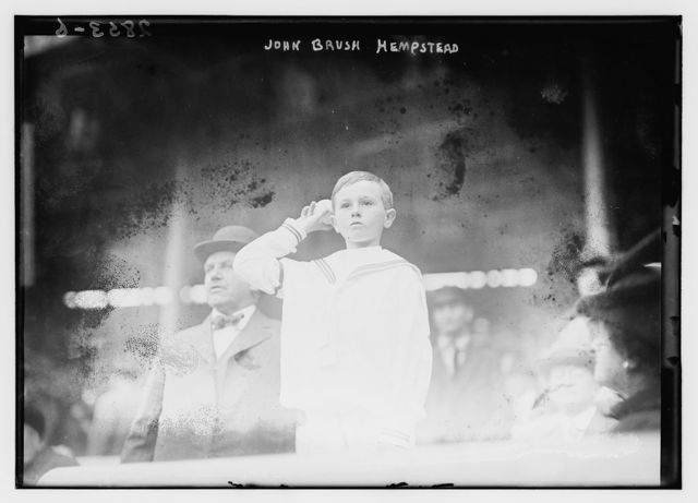 [John Brush Hempstead, son of the New York Giants president Harry Hempstead and grandson of the late John T. Brush (former president of the New York Giants), throws out first pitch of Game One of the 1913 World Series at the Polo Grounds, New York (baseball)]