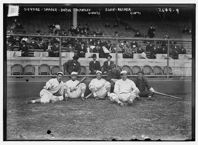 [Josh Devore (New York NL), Tillie Shafer (New York NL), Larry Doyle (New York NL), Dick Egan (Cincinnati NL), Grover Hartley (New York NL), Beals Becker (Cincinnati NL) at the Polo Grounds, May 7-9, 1913 (baseball)]