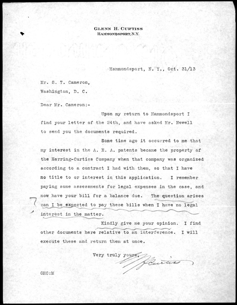 Letter from Glenn H. Curtiss to S. T. Cameron, October 31, 1913