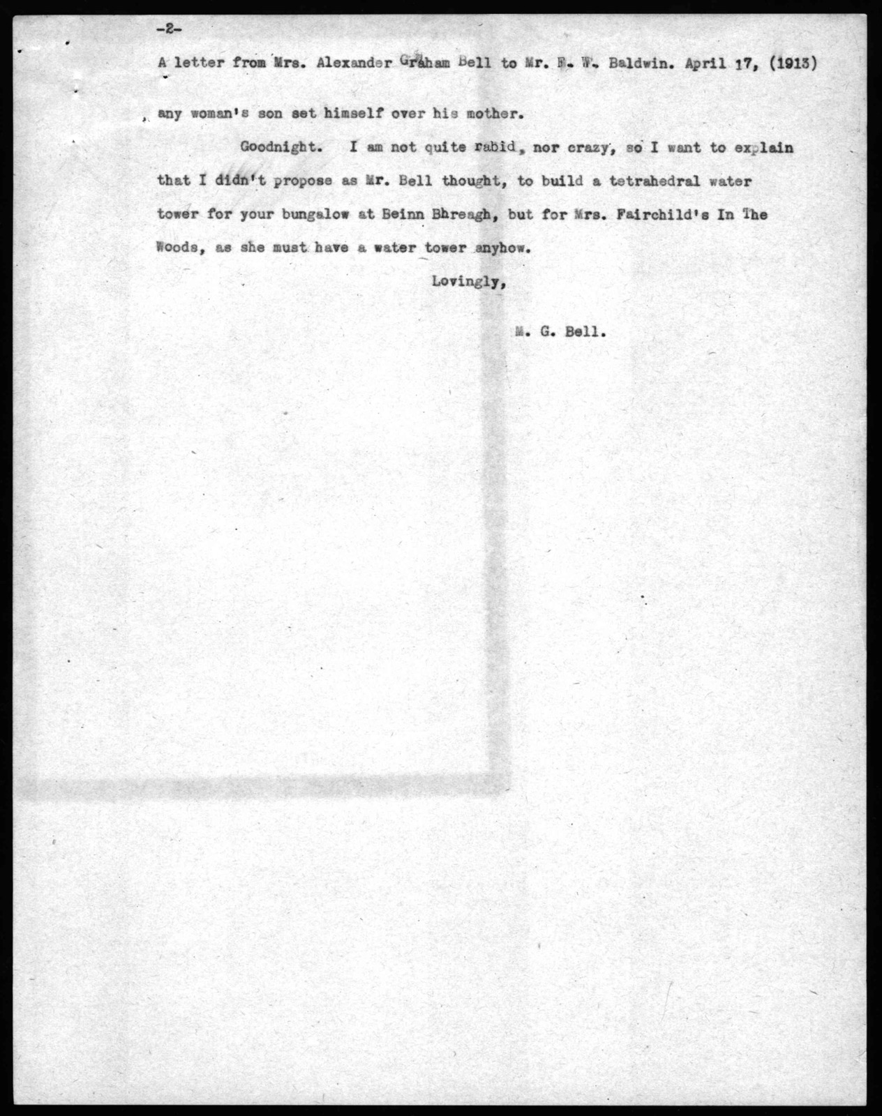 Letter from Mabel Hubbard Bell to Frederick W. Baldwin, April 17, 1913