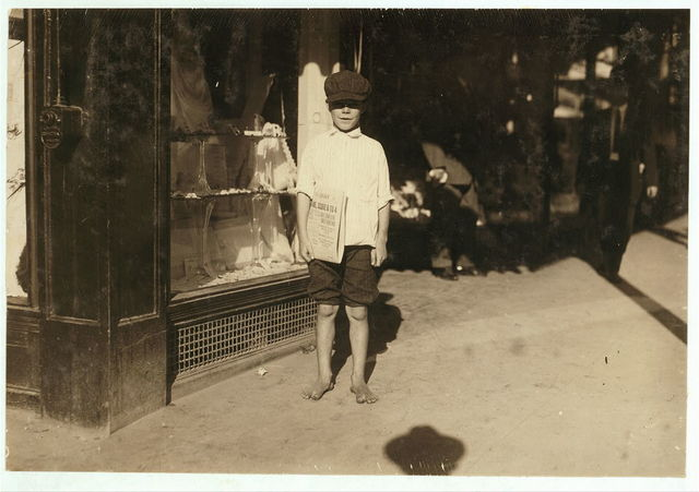 Lionel Perry, nine year old newsboy. Starts out at 5:00 A.M. usually. 4:00 A.M. on Sundays. Sells after school.  Location: San Antonio, Texas.