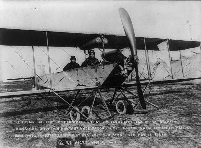 [Lt. Thomas DeWitt Milling and Lt. Sherman in airplane at Texas City after breaking American duration and distance record, March 28, 1913.