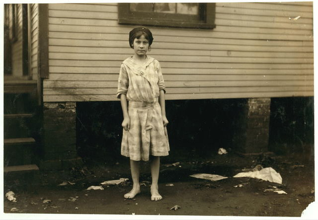 Madeline Causey ten year old worker in Merrimack Mills. Been working there for four months. Fills batteries. Her mother said she was born July 8, 1903. See Hine report.  Location: Huntsville, Alabama.