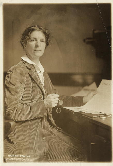 """Mrs. Rheta Childe Dorr of New York is one of the prominent members of the Advisory Council of the Congressional Union for Woman Suffrage.  Mrs. Dorr is a well known writer and speaker.  She is the author of """"What 8,000,000 Women Want"""" and was formerly editor of The Suffragist, the official organ of the Congressional Union."""