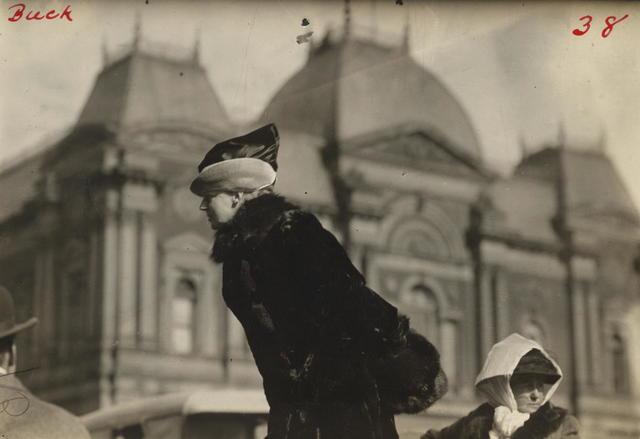 Open air meeting at Washington, D.C., March 1913, calling upon Congress to pass the national woman suffrage amendment.  This photograph shows Mrs. John Rogers, sister-in-law of former Secretary of War, Stimpson [Stimson], and a member of the Advisory Council of the Congressional Union for Women Suffrage, speaking.