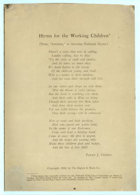"""[Printed page of text: """"Hymn for the Working Children"""" by Fanny J. Crosby.]"""