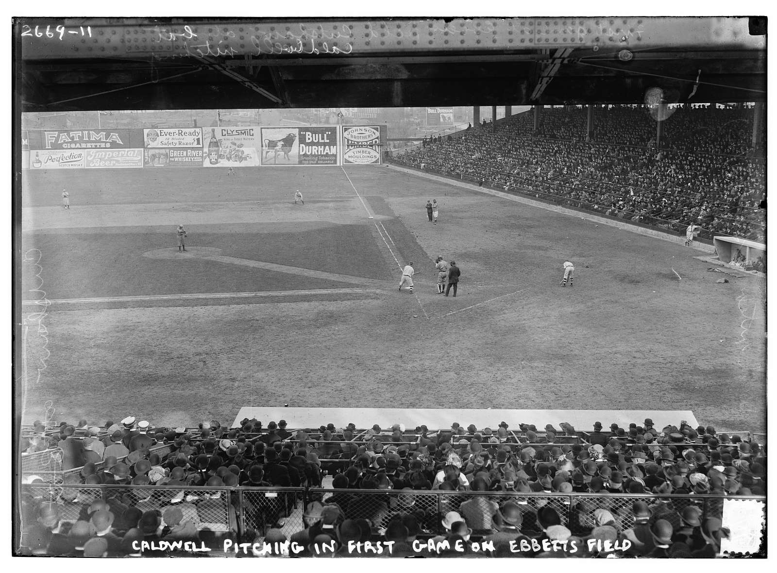 Ray Caldwell, New York AL, pitching in exhibition game which was the first game at Ebbets Field, April 5, 1913 (baseball)