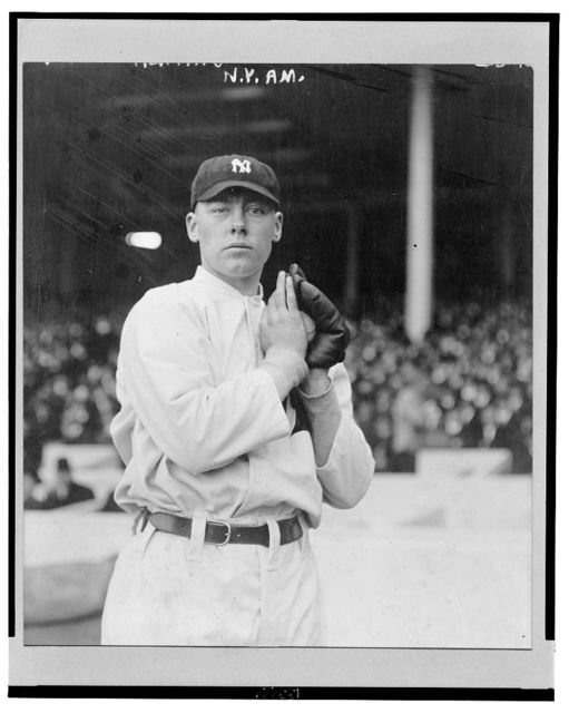 [Ray Keating, New York Yankees pitcher, facing front, standing, holding a ball in his glove]