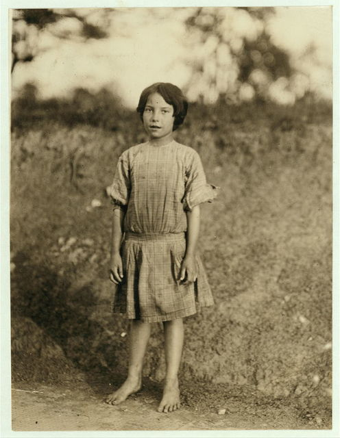 Ruth Rous. She said she was 11 yrs old, but others there said she was not 10. She has a regular job, and several sisters are working. Deep River Cotton Mills.  Location: Randleman, North Carolina.
