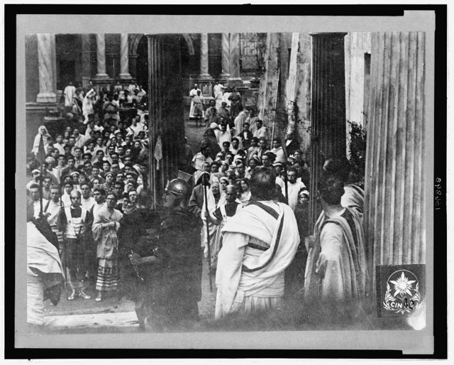 [Scene from the 1913 Italian silent film Quo Vadis?]