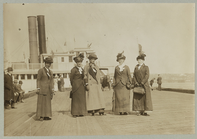 Some of the anti-suffrage leaders who took 1200 people up the Hudson for their Decoration Day picnic : L to R: Mrs. George Phillips, Mrs. K. B. Lapham, Miss Burnham, Mrs. Everett P. Wheeler, Mrs. John A. Church.