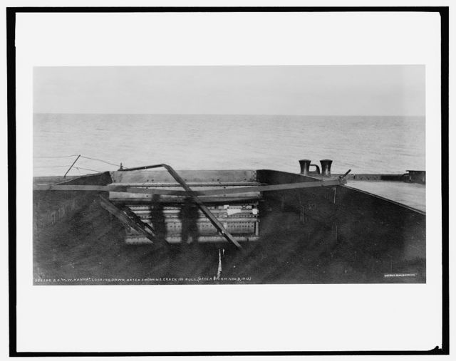 S.S. M.W. [i.e. Howard M.] Hanna, looking down hatch, showing crack in hull after storm