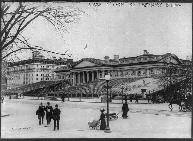 Stand in front of Treasury Bldg. for Woodrow Wilson's inauguration
