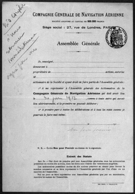Subject File:  Foreign Business--Countries--France--Compagnie General de Navigation Aerienne, 1913