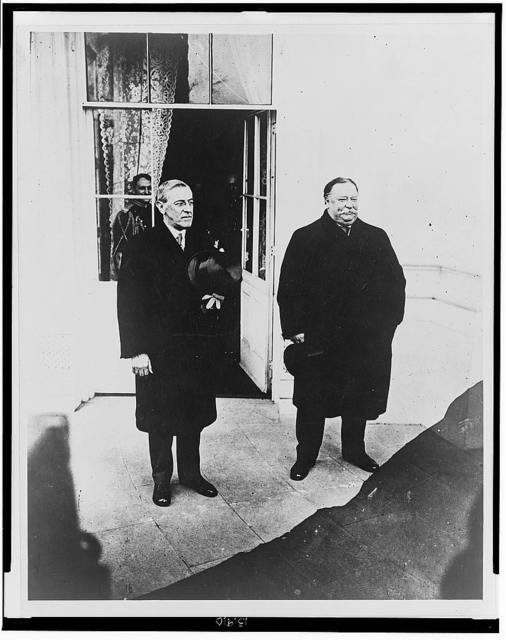 Taft & Wilson at White House, after Wilson's inauguration