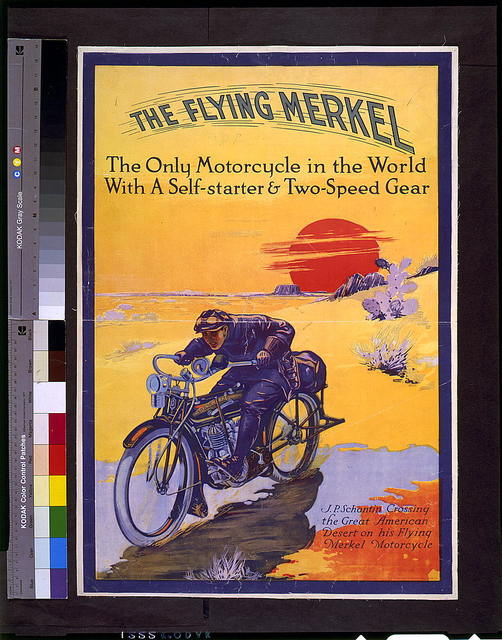 The flying Merkel ... J.P. Schantin crossing the great American desert on his flying Merkel motorcycle