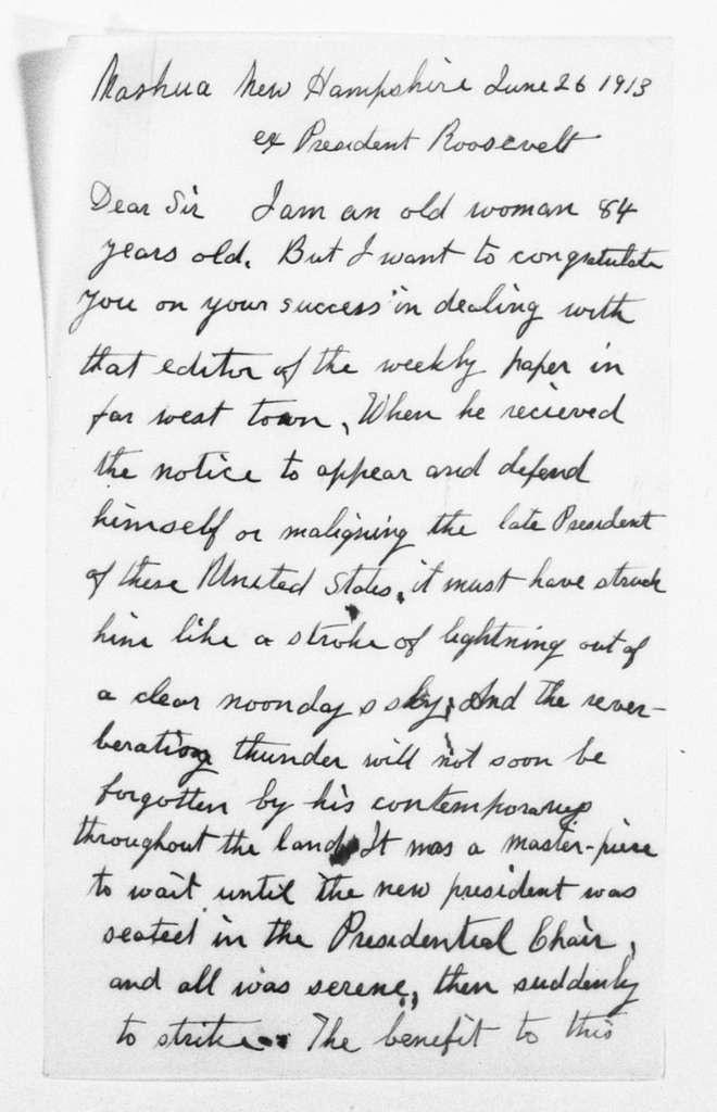 Theodore Roosevelt Papers: Series 1: Letters and Related Material, 1759-1919; 1913, June 19-June