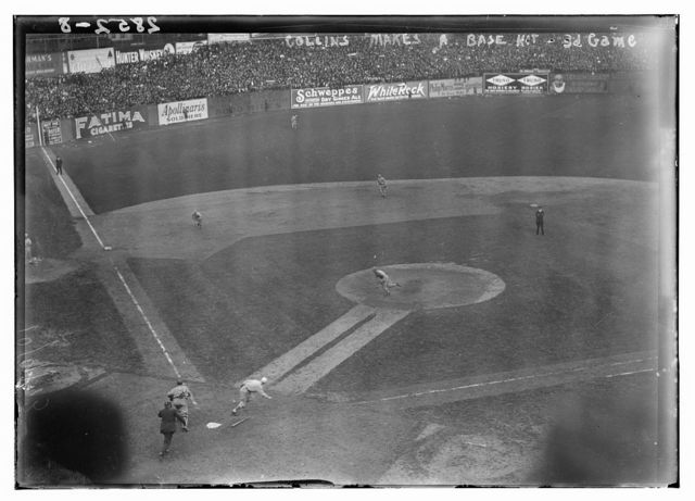 [Unidentified player, New York NL, bunts against Athletics in 3rd game of 1913 World Series at Polo Grounds (baseball)]