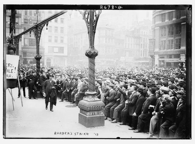 Union Square, New York. J.J. Ettor speaking to striking barbers / Photo by Bain News Service