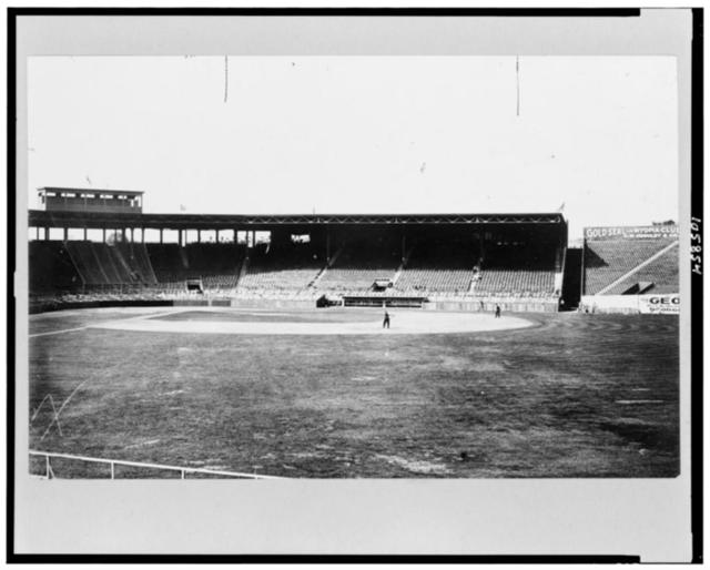 [View of baseball field, with bleachers in background, Fenway Park, Boston]