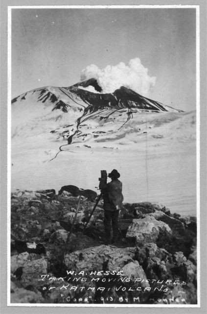 W.A. Hesse taking moving pictures of Katmai Volcano