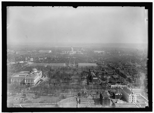 WASHINGTON MONUMENT. VIEW OF MALL FROM MONUMENT