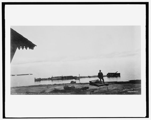 Yates dock, Pointe aux Barques, Mich., after storm