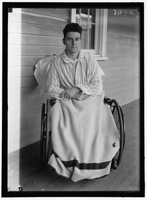 [Young veteran soldier in wheelchair on porch, Walter Reed Hospital, Washington, D.C.]
