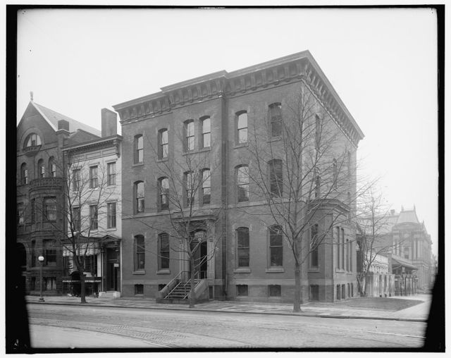 [1600 block of H Street, N.W., Washington, D.C., showing Handicraft School at left, 1622 H Street, and American Red Cross building at right, 1624 H Street, with 17th Street corner leading to old Corcoran Art Gallery in distance]