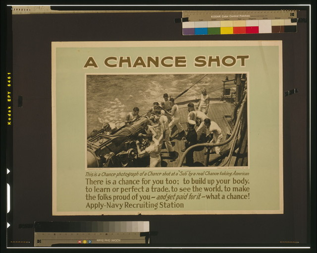 "A chance shot This is a chance photograph of a chance shot at a ""sub"" by a real chance taking American / / photographed by Lieut. Sellers, P.C., U.S.N."
