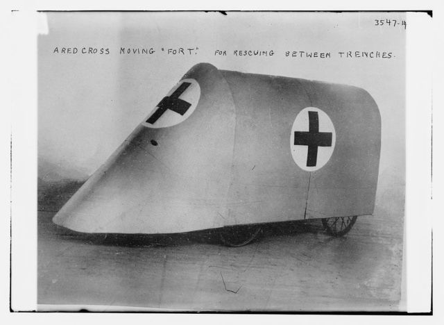 "A red cross moving ""Fort"". For rescuing between trenches"