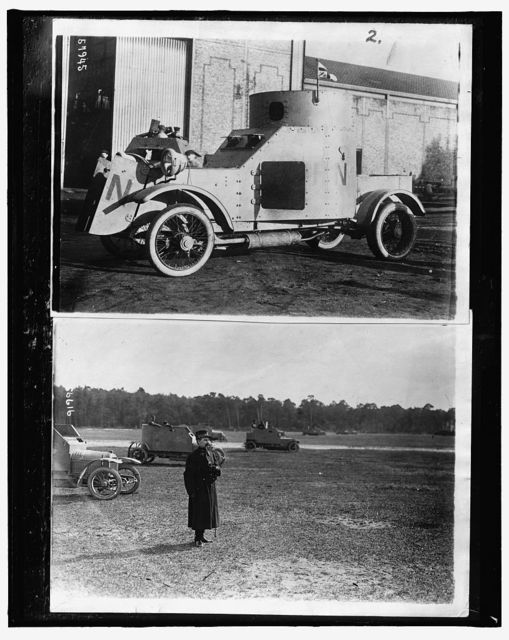 [Armored car ; Officer with armored cars in a field]