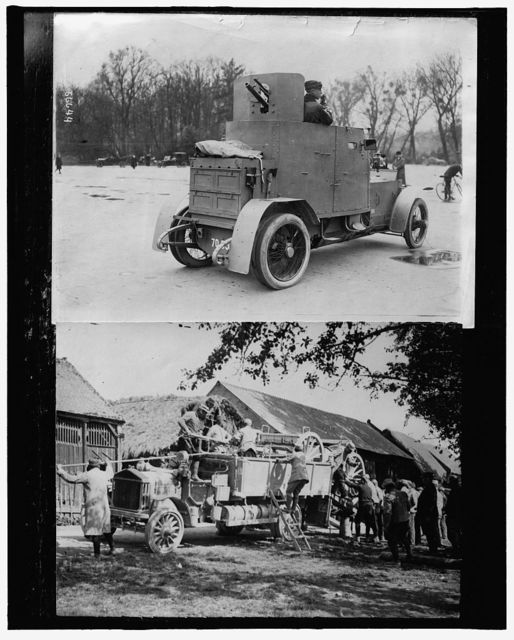 [Armored car ; Soldiers unloading equipment from truck]