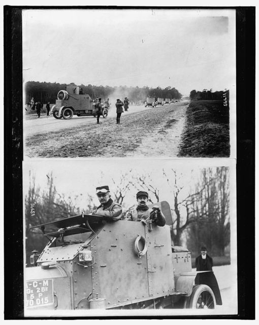[Armored cars on maneuvers ; Two soldiers in armored car]