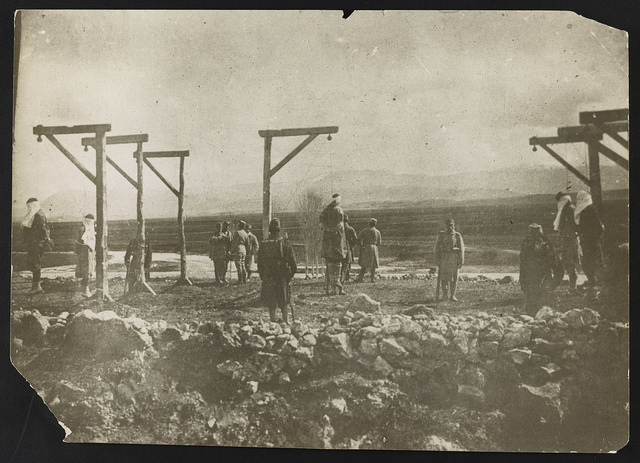 [Austrian soldiers executing Serbians by hanging]