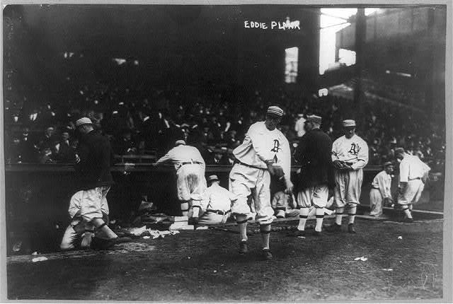 [Baseball pitcher for Philadelphia Athletics Edward Stewart Plank throwing ball to warm up in bull pen]