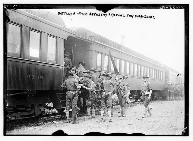 Battery A - Field artillery leaving for war game