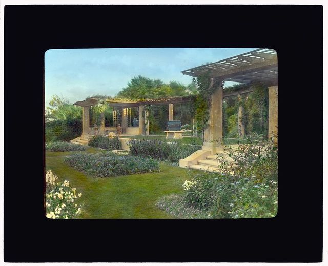 "[""Beacon Hill House,"" Arthur Curtiss James house, Beacon Hill Road, Newport, Rhode Island. Blue Garden, pergola at south end]"