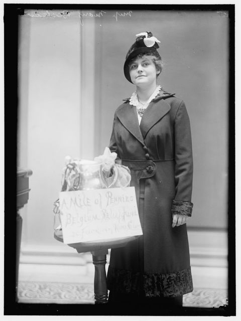 BELGIAN RELIEF. MISS MARY DECKER OF THE 'MILE OF PENNIES' CAMPAIGN