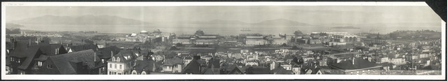 Birds eye view of Panama-Pacific International Exposition, grounds & buildings, including the site and all features