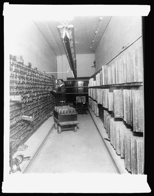 Bureau Eng. & Ptg. Interior of plate vault, roll case on left. Engraved plates on right, [1914]